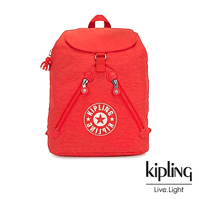 Kipling 致敬經典復古暖陽紅抽繩束口後背包-FUNDAMENTAL NC