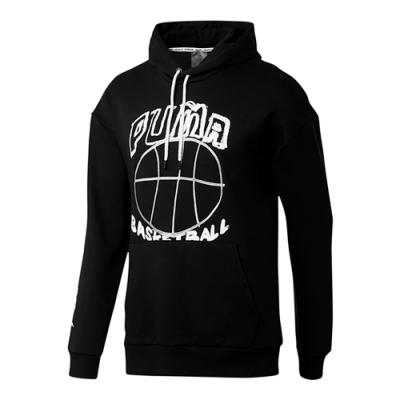 PUMA-男性籃球系列PASS THE ROCK長厚連帽T恤-黑色-歐規