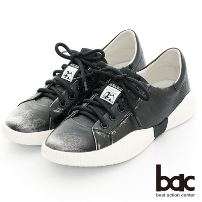 【bac】休閒享樂擦色感綁帶休閒鞋-黑