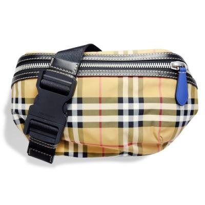 BURBERRY 經典Vintage格紋帆布皮革飾邊拉鍊腰包/斜背包 (中) 黃色
