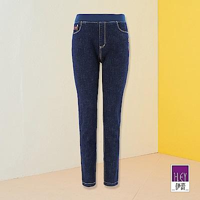 ILEY伊蕾 時尚幸運標語窄管牛仔褲(藍)