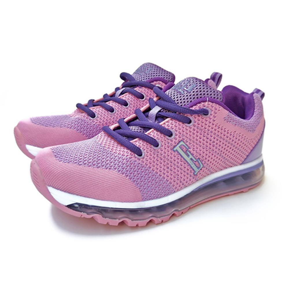 ELLE active時尚俏麗異材質混搭運動休閒鞋_紫/黑