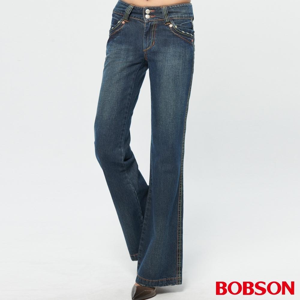 BOBSON 女款寬版腰頭大喇叭褲