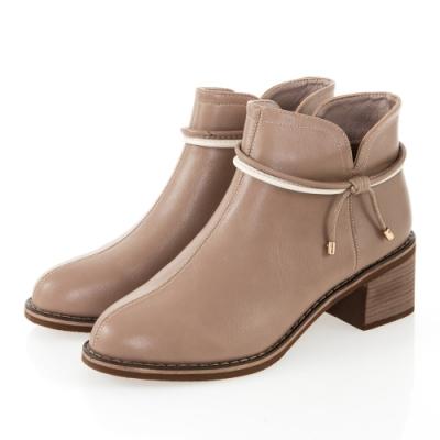 JMS-甜美雙細帶蝴蝶結造型素面粗跟短靴-駝色