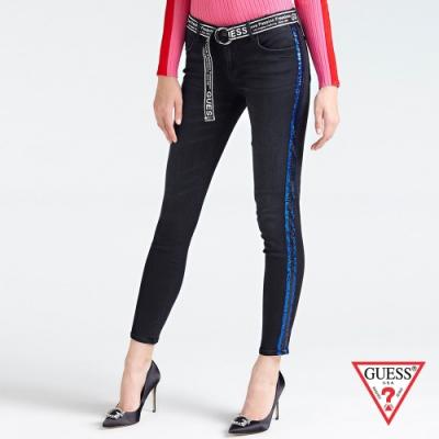 GUESS-女裝-復古修身牛仔長褲-黑