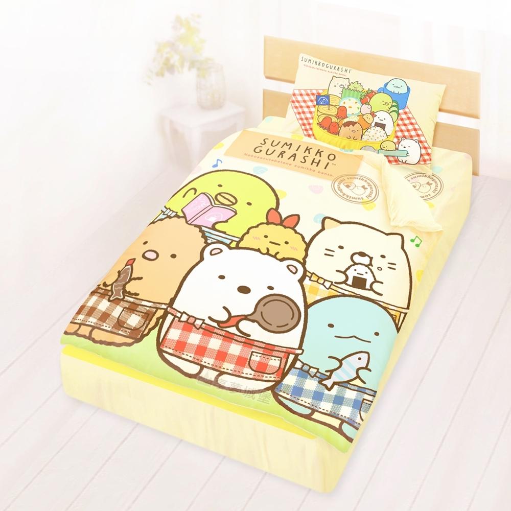 享夢城堡 單人床包涼被三件組-角落小夥伴 小廚神-米黃