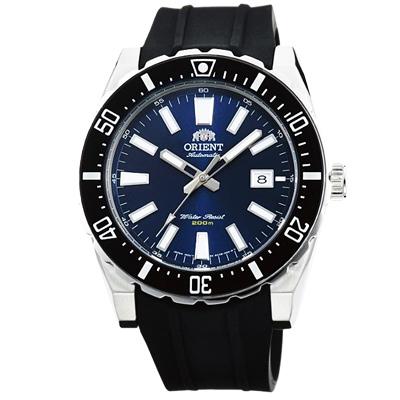 ORIENT東方200m潛水機械錶手錶-藍X黑橡膠帶/46mm