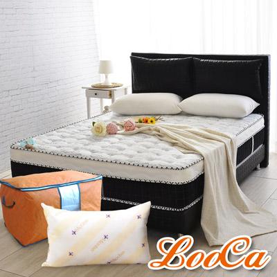 LooCa 乳膠手工4.8雙簧護框硬式獨立筒床三件組 單人3.5尺