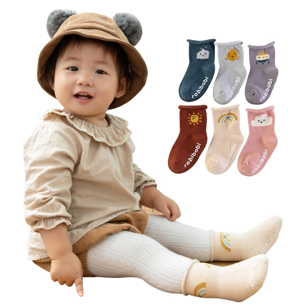 JoyNa【4雙入】兒童短襪 嬰幼寶寶襪子卡通鬆口防滑襪