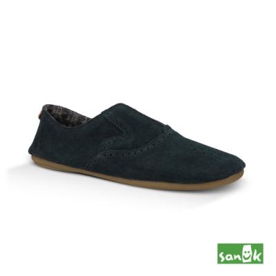 SANUK 女款 US8 麂皮激光雕花休閒鞋(黑色)