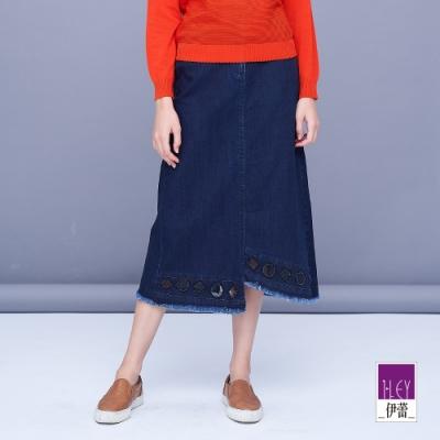 ILEY伊蕾 復古不對稱下擺蕾絲燙鑽牛仔裙(藍)