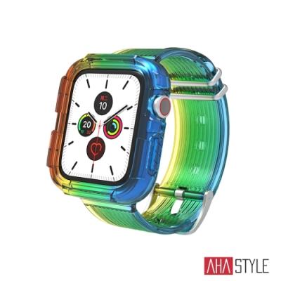 AHAStyle Apple Watch 彩虹款 防摔半透明運動錶帶