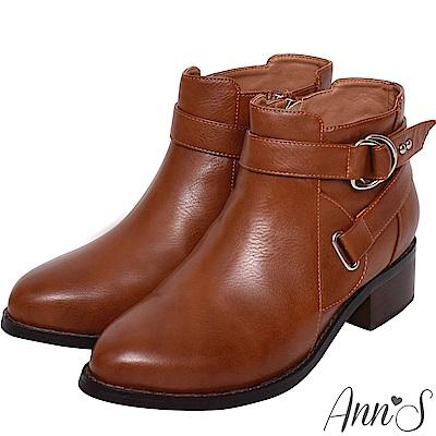 Ann'S秋季秘密-銀扣雙帶超短筒機車靴-棕