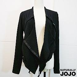 【NATURALLY JOJO】純色剪接短版外罩(黑)