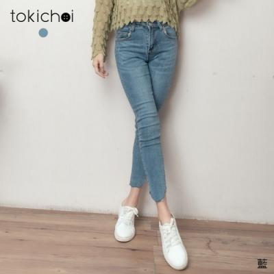 東京著衣 顯瘦必備刷色不規則褲管窄管牛仔長褲-S.M.L