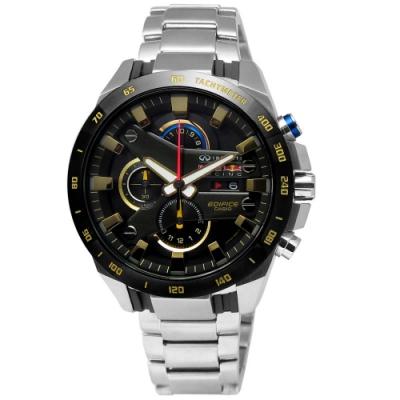 EDIFICE CASIO 風暴黑金競速限量聯名不鏽鋼腕錶-黑色x金色/45mm