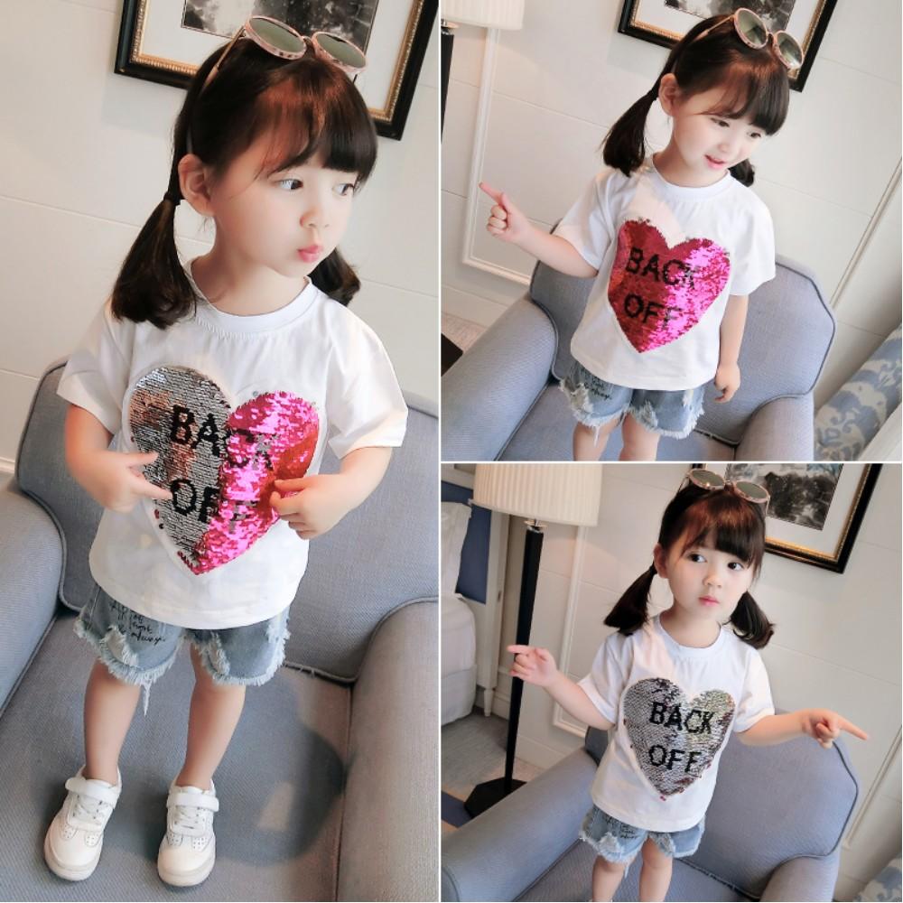 小衣衫童裝  親子款夏季新品變色亮片愛心短袖T恤1080214