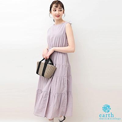 earth music 蝴蝶結緞帶蛋糕裙棉麻背心洋裝