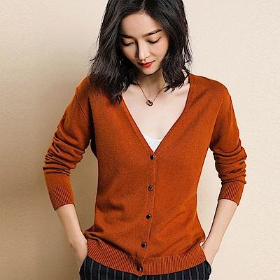 初色  純色針織開衫-共6色-(M-2XL可選)