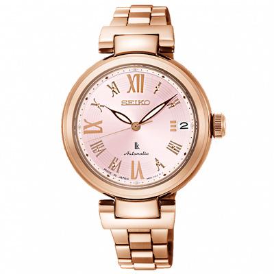 SEIKO 精工 LUKIA晶鑽時尚機械手錶 SRP848J1-粉X玫瑰金/33mm