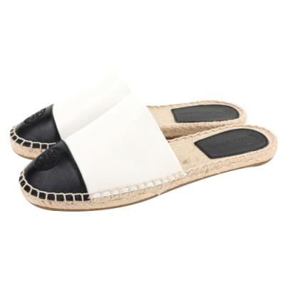 TORY BURCH Color-Block 香奈兒風拼色皮革草編穆勒鞋(黑白)