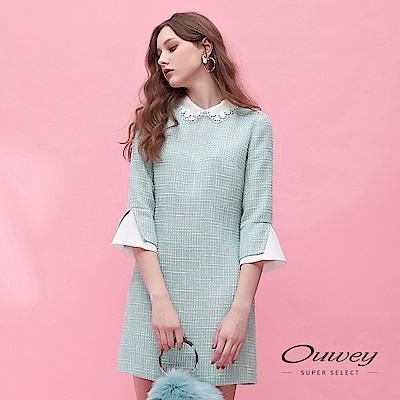 OUWEY歐薇 優雅小香風雕花刺繡領口造型七分袖洋裝(藍)