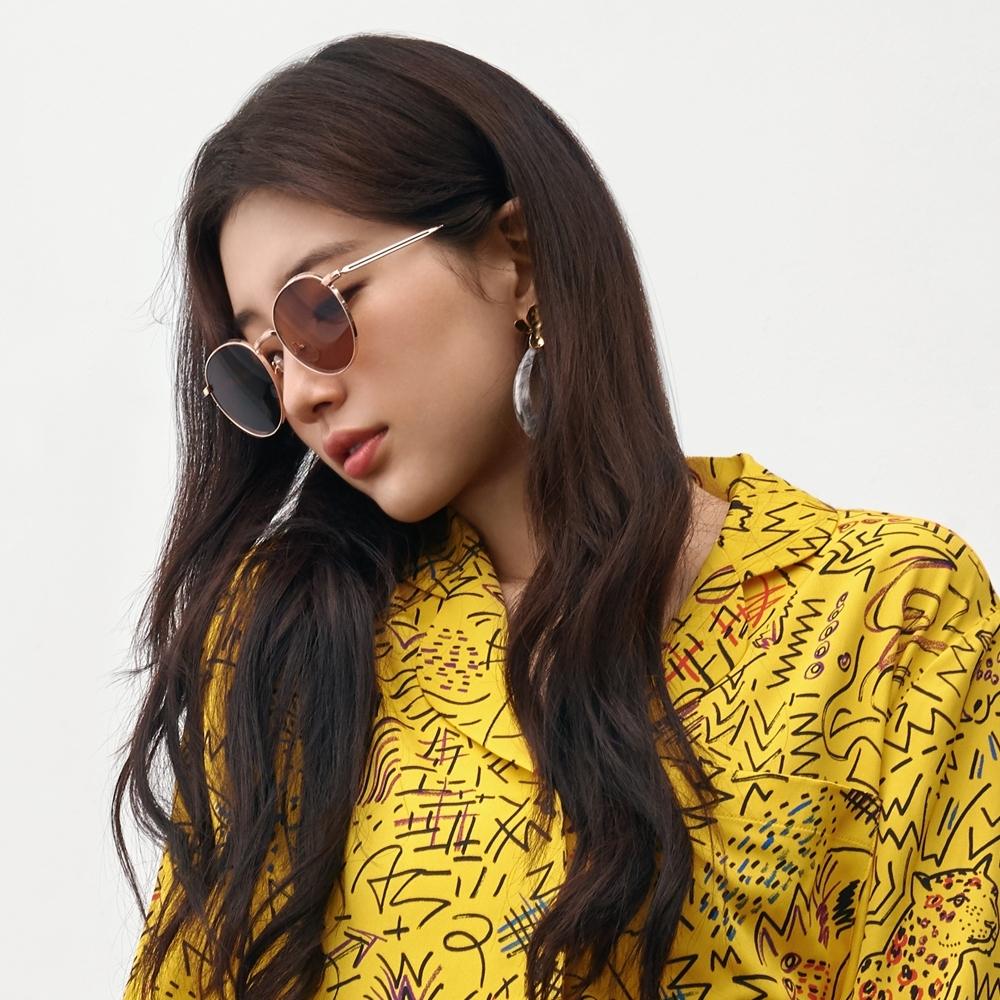 CARIN 太陽眼鏡 率性簡約迷人款/玫瑰金-棕黃鏡片 #ANNA C2