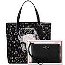 COACH 黑色貓王肖像花朵帆布托特包/大型+防刮皮革手拿包