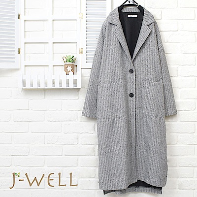 J-WELL 西裝領貼口袋羅紋長版外套(2色)