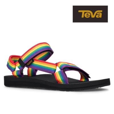 【TEVA】原廠貨 女 Original Universal Pride 經典緹花織帶涼鞋/雨鞋/水鞋(彩虹黑-TV1003987RWBC)
