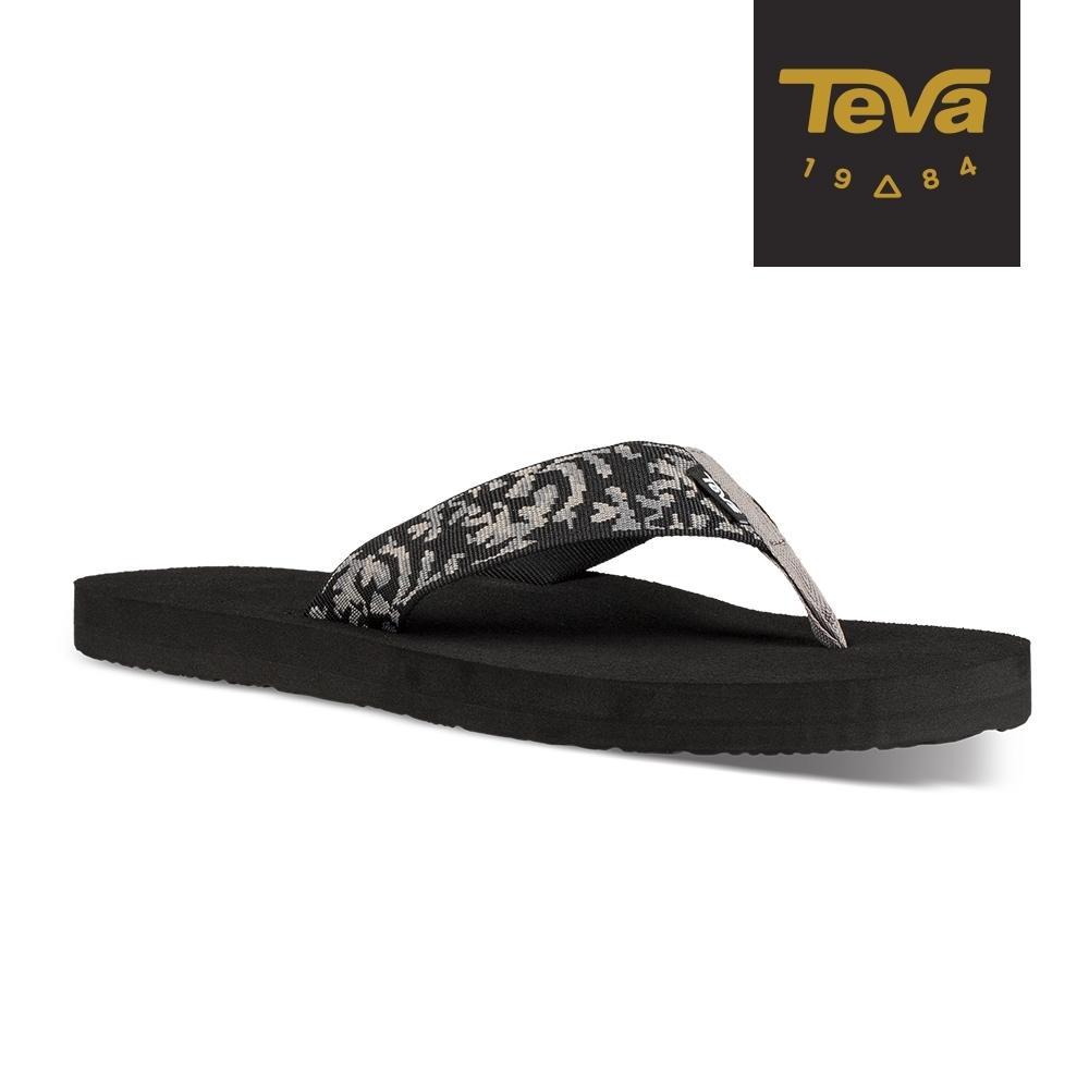 TEVA 男 Mush II 寬版織帶夾腳拖鞋-荊棘黑