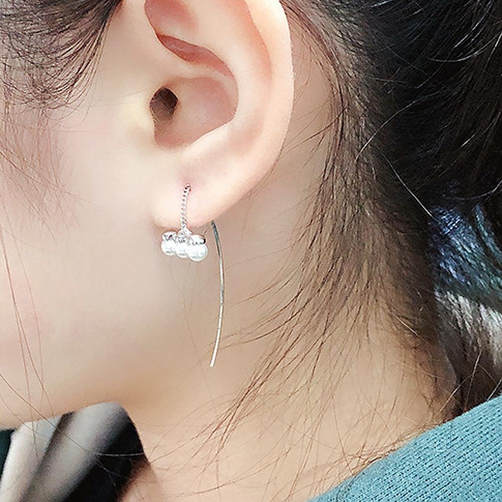 梨花HaNA 韓國925銀極簡搭配三顆珍珠耳線耳環