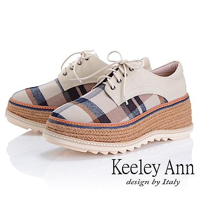 Keeley Ann 簡約百搭~英格蘭風格紋厚底綁帶真皮休閒鞋(米色-Ann)