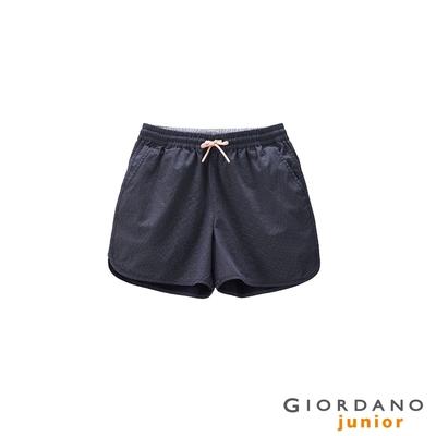 GIORDANO 童裝抽繩純棉短褲 - 98 標誌海軍藍X白