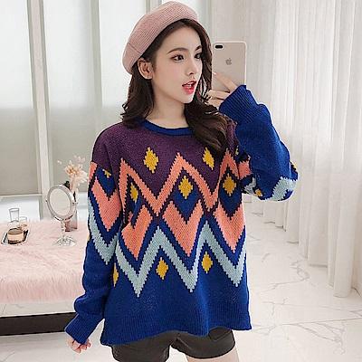 La Belleza圓領彩色幾何圖案落肩厚毛料針織毛衣 @ Y!購物