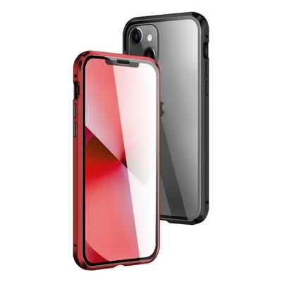 iPhone 13 mini 金屬 透明 全包覆 磁吸 雙面 玻璃殼 手機殼 黑色款 ( iPhone13mini保護殼 保護套 磁吸殼 )