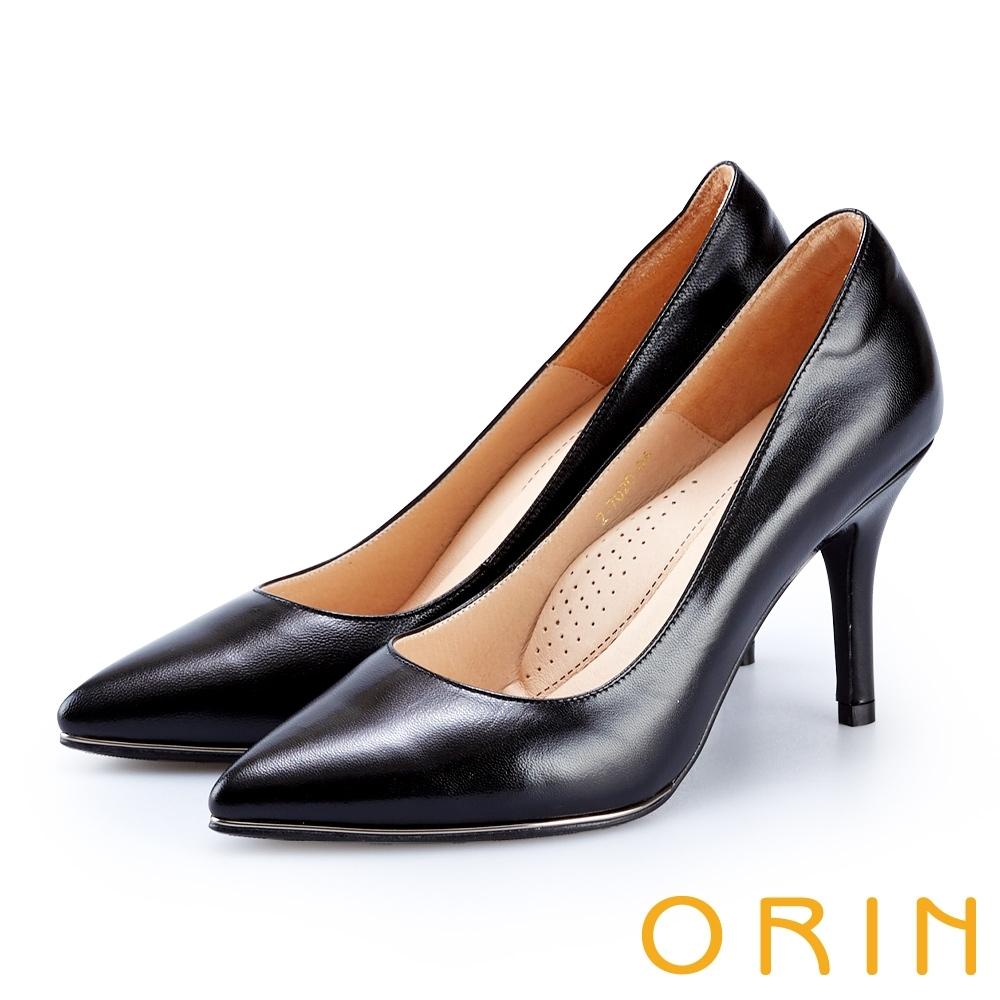 ORIN 羊皮典雅名媛金屬尖頭 女 高跟鞋 黑色