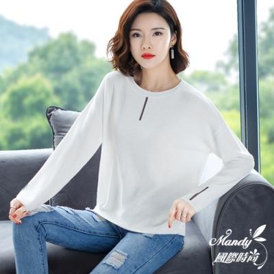 Mandy國際時尚 長袖上衣 秋 圓領寬鬆氣質針織毛衣(6色)