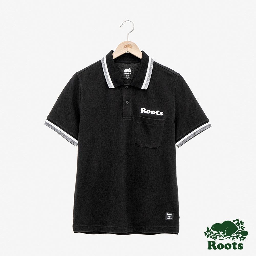 男裝Roots-左胸口袋短袖POLO衫-黑