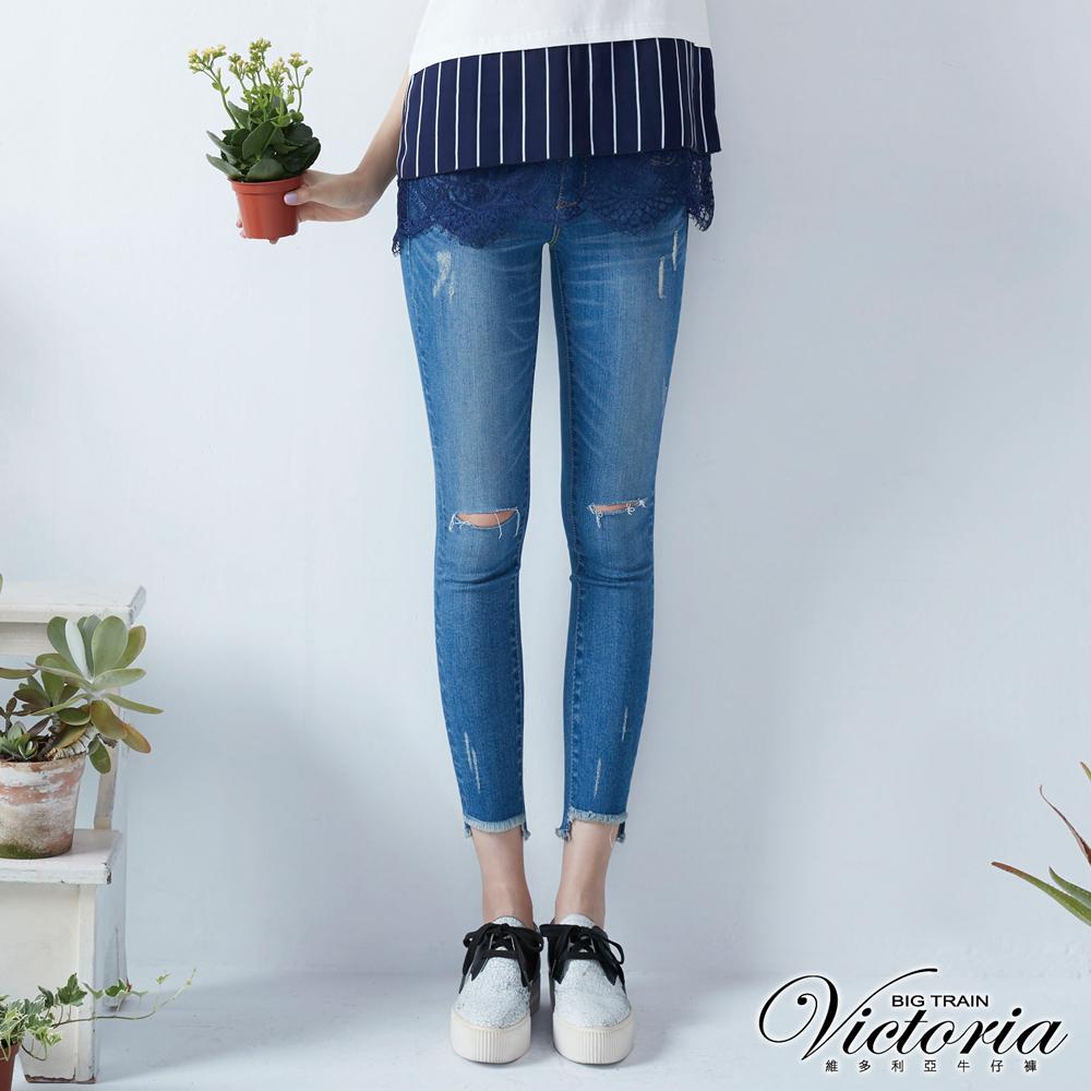 Victoria 低腰雙膝割破鬚口九分褲-女-中藍