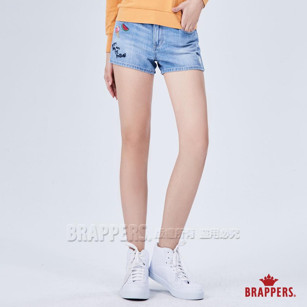BRAPPERS 女款 Boy friend系列-繽粉童趣刺繡短褲-藍