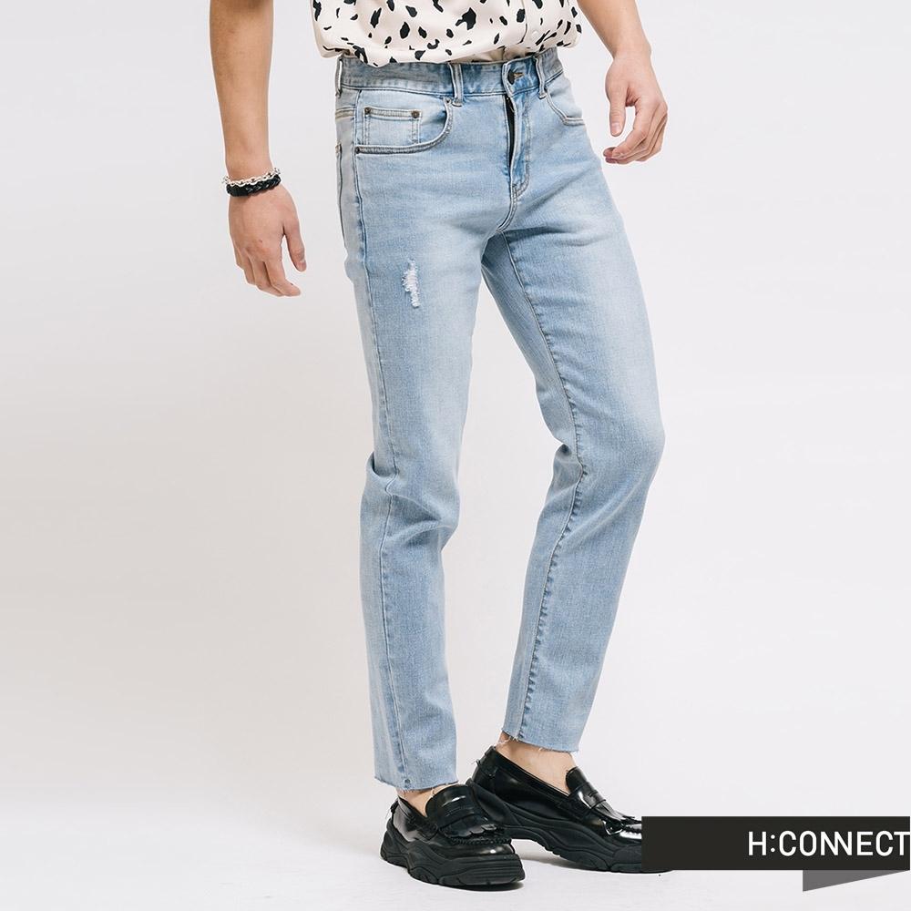 H:CONNECT 韓國品牌 男裝  - 隨性水洗牛仔褲 - 藍