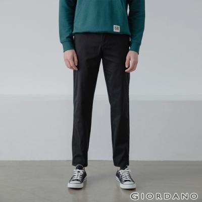 GIORDANO 男裝彈力斜紋棉窄管卡其褲 - 09 標誌黑