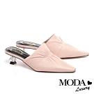 拖鞋 MODA Luxury 復古時尚抓皺羊皮穆勒高跟拖鞋-粉