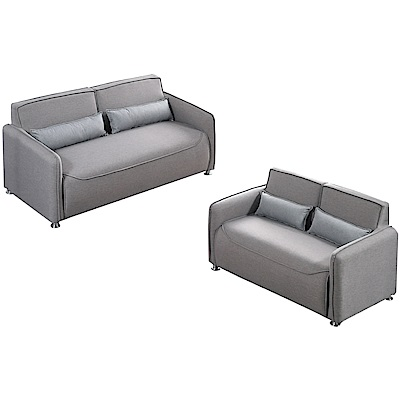品家居 馬賽時尚灰皮革獨立筒沙發椅組合(2+3人座)