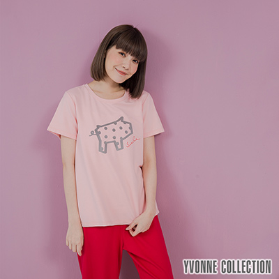 YVONNE豬豬圖案短袖上衣- 淺粉