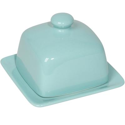 《NOW》附蓋方形石陶奶油盤(水藍)