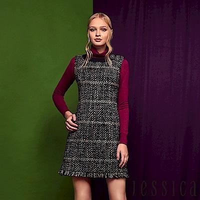 JESSICA - 氣質配色大格紋毛呢抽鬚混羊毛無袖洋裝