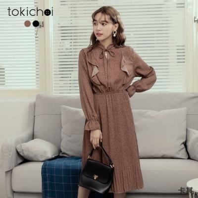 東京著衣 波點印花荷葉領綁結細褶長洋裝(共二色)
