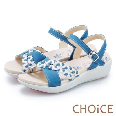 CHOiCE 麻花雙色皮革編織造型涼鞋 藍色